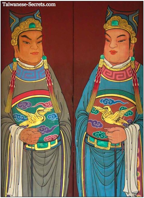 chinese door guards in temple
