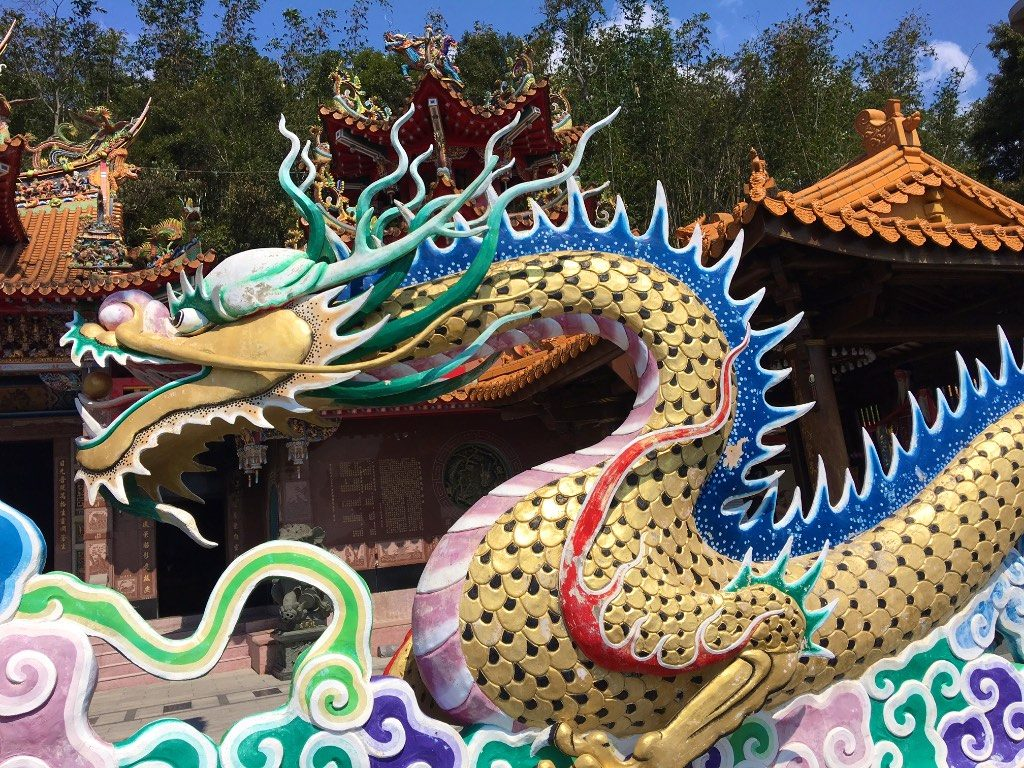 Giant dragon guards the entrance to Longfong Temple at Sun Moon Lake