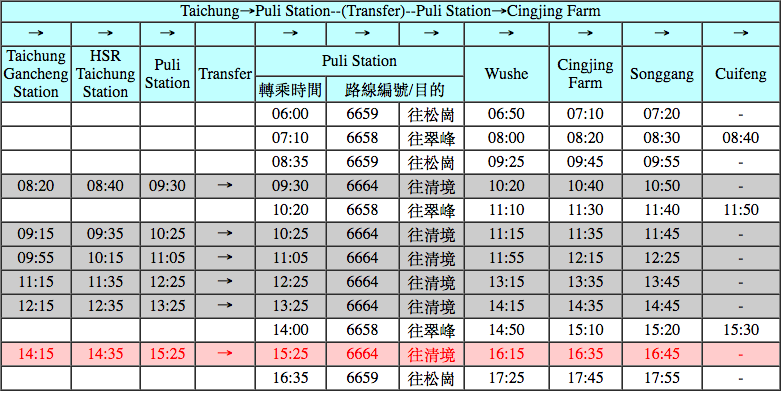 Taichung to Hehuanshan Bus Schedule