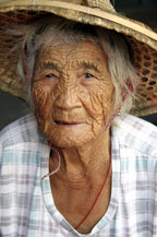 wrinkled old chinese woman